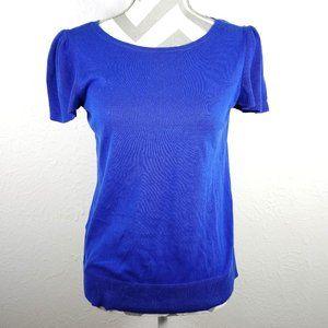 LOFT Blue Knit Top Gentle Frill Sleeve Size M